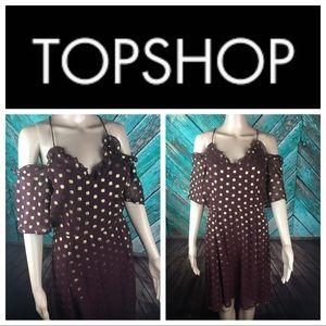 Topshop Burgundy & Gold Cold Shoulder Dress
